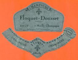 étiquette + Collerette De Champagne Brut Floquet Doussete à Mailly Champagne - 75 Cl - Champagne