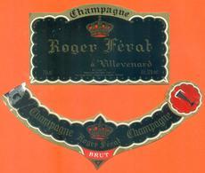 étiquette + Collerette De Champagne Brut Roger Férat à Villevenard - 75 Cl - Champagne
