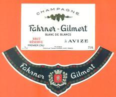 étiquette + Collerette De Champagne Brut Fahrner Gilmert à Avize - 75 Cl - Champagne