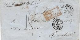 """1853- Lettre De Fort De France ( Martinique )  COLONIES / &c. ART. 13 Encadré Rouge  + """" ANGL. / ( AM.2) CALAIS 2  Noir - 1849-1876: Classic Period"""