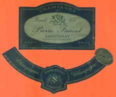 étiquette + Collerette De Champagne Brut Pierre Fauvet à Ambonnay - 75 Cl - Champagne