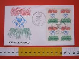 A.02 ITALIA ANNULLO - 1989 ROMA PRE CAMPIONATI MONDIALI DI CALCIO FDC QUARTINA ITALIA '90 1990 SCULTURA LEGNO - Coppa Del Mondo