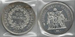 FRANCIA 1977 - Liberté, Égalité, Fraternité - 50 Francs SPL / FDC - Argento / Argent / Silver - Confez. In Bust. (3 Foto - M. 50 Franchi