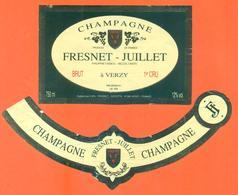 étiquette + Collerette De Champagne Brut Fresnet Juillet à Verzy - 75 Cl - Champagne