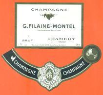 étiquette + Collerette De Champagne Brut G Filaine Montel à Damery - 75 Cl - Champagne