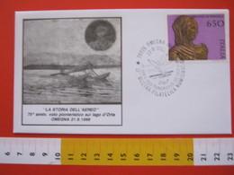 A.02 ITALIA ANNULLO - 1988 OMEGNA VERBANIA NOVARA 75 VOLO PIONIERISTICO SUL LAGO D'ORTA ORTA 1913 MOSTRA PHIL - Aerei