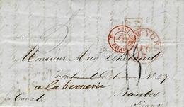 """1856- Lettre De New York Pour Nantes  Par Le """" Canada """"  Entrée ANGL. 2 CALAIS 2  Rouge - 1849-1876: Classic Period"""