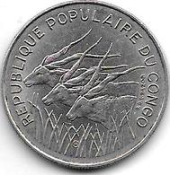 *congo Republic 100 Francs 1971 Km 1  Xf+ - Congo (República Democrática 1998)