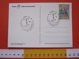 A.02 ITALIA ANNULLO - 1988 GENOVA FARO LA LANTERNA GIORNATA NAZIONALE FILATELIA CARD SCULTURA JACOPO LANFRANI SARCOFAGO - Fari