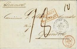 1846- Lettre De St Pierre ( Martinique ) COLONIES / &c. ART.13 Rouge + Taxe 18 + ANGL. / CALAIS  22 Fevr.46 Rouge - 1849-1876: Classic Period