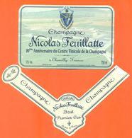 étiquette + Collerette De Champagne Brut 20eme Anniversaire Centre Vinicole Nicolas Feuillatte à Chouilly - 75 Cl - Champagne