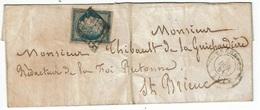 FRANCE - T.P. 4 (Obl. Grille) S/L. Sans Contenu De TREGNIER (5 DEC 1851) à SAINT-BRIEUC - 1849-1876: Classic Period