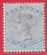 Bermudes N°21 2,5p Outremer (filigrane CA, Dentelé 14) 1884-93 * - Bermuda