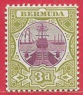 Bermudes N°27 3p Olive & Lilas (filigrane CA, Dentelé 14) 1902-03 * - Bermudes