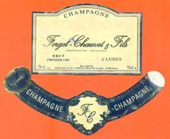 étiquette + Collerette De Champagne Brut  Forget Chauvet Et Fils à Ludes - 75 Cl - Champagne