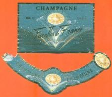 étiquette + Collerette De Champagne Brut Facettes De France à Chatillon Sur Marne - 75 Cl - Champagne