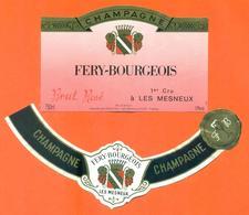 étiquette + Collerette De Champagne Brut Rosé Fery Bourgeois à Les Mesneux - 75 Cl - Champagne