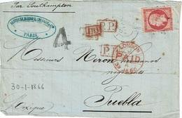 """FRANCE - T.P. 24 S/devant De Lettre De PARIS (30-1-1866) à PUEBLA (Mexique) + """"P.P. + P.D. +""""4"""" + LONDON PAID 31 JA 66 - 1849-1876: Classic Period"""
