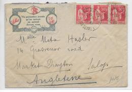 1935 - VIGNETTE SPA ANIMAUX (CHIENS CHATS + CHEVAL) + PAIX Sur LETTRE De RUEIL => ANGLETERRE - Erinnophilie
