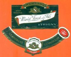 étiquette + Collerette De Champagne Brut Marcel Forest Et Fils à Trigny - 75 Cl - Champagne