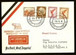 POSTE AÉRIENNE PAR GRAF ZEPPELIN LZ 127 1933- UNIQUE VOYAGE EN ITALIE- LIVORNO- 29 MAI 1933- 2 SCANS - Posta Aerea