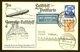 POSTE AÉRIENNE PAR GRAF ZEPPELIN 1933- VOYAGE INTERIEUR EN SARRE OCCUPÉE DU 25-6-33- 2 SCANS - Luftpost