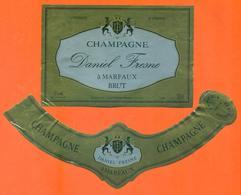 étiquette + Collerette De Champagne Brut Daniel Fresne à Marfaux - 75 Cl - Champagne