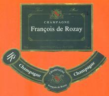 étiquette + Collerette De Champagne Brut François De Rozay à 51230 - 75 Cl - Champagne