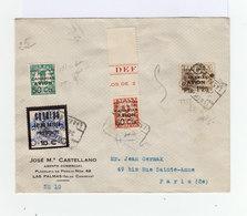 Sur Enveloppe De Las Palmas Canaries 4 Timbres 1931 36 Surchargés Arriba Espania 18 Juillet 1936 Canarias Avion. (961) - Poststempel - Freistempel