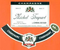étiquette + Collerette De Champagne Brut Michel Frapart à Le Mesnil Sur Oger - 75 Cl - Champagne