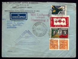 POSTE AÉRIENNE RECOMMANDÉE VIA CONDOR ZEPPELIN 1933- 6eme VOYAGE RETOUR DU BRÉSIL- LE 8-9-33- 2 SCANS - Luchtpost