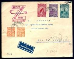 POSTE AÉRIENNE PAR CONDOR ZEPPELIN 1933- 1er VOYAGE INTERIEUR ALLER- RECIFE A RIO LE 20-9-1933- 2 SCANS - Airmail