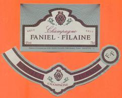 étiquette + Collerette De Champagne Brut Faniel Filaine à Damery - 75 Cl - Champagne