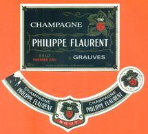 étiquette + Collerette De Champagne Brut Philippe Flaurent à Grauves - 75 Cl - Champagne