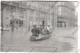 CPA PARIS Inondé : Cliché Du 28 Janvier 1910 - En Bateau Boulevard Haussmann - Inondations De 1910
