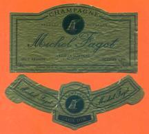 étiquette + Collerette De Champagne Brut Michel Fagot à Rilly La Montagne - 75 Cl - Champagne