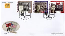Albania Stamps 2018. Historic Events: Literature; Wilson USA; Kosovo. FDC MNH - Albania