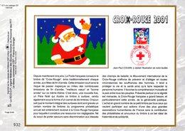 """"""" CROIX-ROUGE 2001 :  BOULE-PERE NOEL / ETOILES """" Sur Feuillet CEF N°té En SOIE N° 1571s N° YT 3436 Parfait état FDC - Croix-Rouge"""
