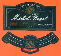 étiquette + Collerette De Champagne Brut Millésime 1990 Michel Fagot à Rilly La Montagne - 75 Cl - Champagne