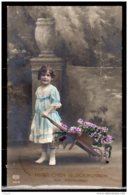 1910 Herzlisches Glückwunsch Zum Namestage - Mädchen Mit Blumen In Wagenle - Laufen Vom Langenau N.Algau - (wz) - Prénoms
