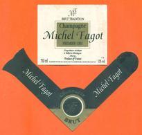 étiquette + Collerette De Champagne Brut Tradition Michel Fagot à Rilly La Montagne - 75 Cl - Champagne