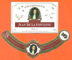étiquette + Collerette De Champagne Brut Jean De La Fontaine Baron Albert à Charly Sur Marne - 75 Cl - Champagne