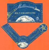 étiquette + Collerette De Champagne Brut Cuvée Millénium Joly Champagne à Troissy - 75 Cl - Champagne