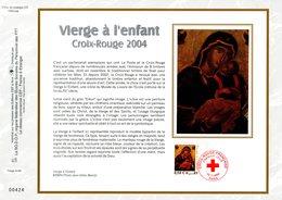 """"""" CROIX-ROUGE 2004 :  LA VIERGE A L'ENFANT """" Sur Feuillet CEF N°té En SOIE N° 1741s N° YT 3717 Parfait état FDC - Croix-Rouge"""