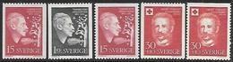 Sweden  1959  Sc#541-3, B47-8   Poet & Charity Sets  MLH   2016 Scott Value $6 - Sweden