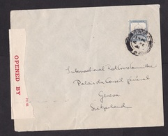 Palestine: Cover Haifa To Red Cross Switzerland, 1941, 1 Stamp, Censored, Censor Label  (minor Damage, See Scan) - Palestina