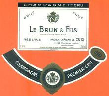 étiquette + Collerette De Champagne Brut Le Brun Et Fils à Chateau De Cuis - épernay - 75 Cl - Champagne