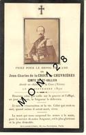 FAIRE PART DECES 16/9/1890 DE JEAN CHARLES DE LA CROIX DE CHEVRIERES COMTE DE ST VALLIER DECEDE CHATEAU DE LA CAVE (58) - Décès