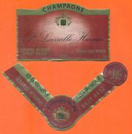 étiquette + Collerette De Champagne Brut Rosé P Lassalle Hanin à Chigny Les Roses - 75 Cl - Champagne