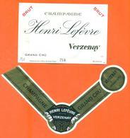 étiquette + Collerette De Champagne Brut Henri Lefévre à Verzenay - 75 Cl - Champagne